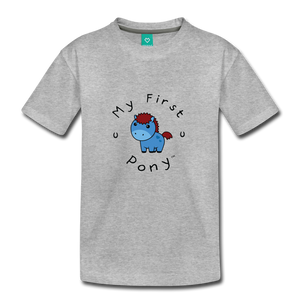 Toddler My First Pony T-Shirt (blue) - heather gray