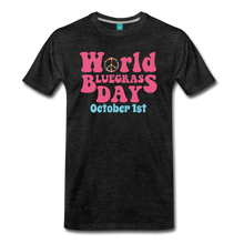 Load image into Gallery viewer, Men's 60s-Retro World Bluegrass Day T-Shirt - charcoal gray