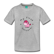 Load image into Gallery viewer, Toddler My First Unicorn T-Shirt (pink) - heather gray
