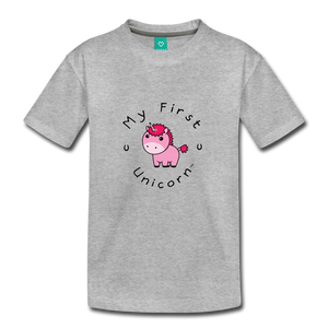 Toddler My First Unicorn T-Shirt (pink) - heather gray