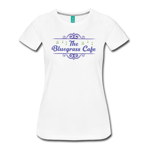 Women's The Bluegrass Cafe (swirl) T-Shirt - white