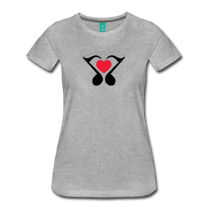 Women's Heart Music Note T-Shirt - heather gray