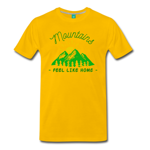 Men's Mountains Feel Like Home T-Shirt - sun yellow