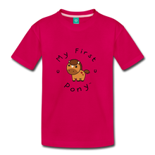 Load image into Gallery viewer, Kids' My First Pony T-Shirt (light brown) - dark pink