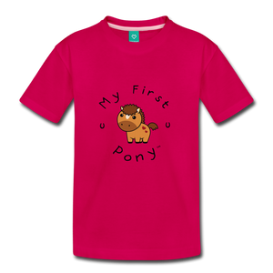 Kids' My First Pony T-Shirt (light brown) - dark pink