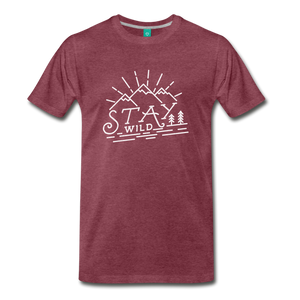 Men's Stay Wild T-Shirt (white) - heather burgundy