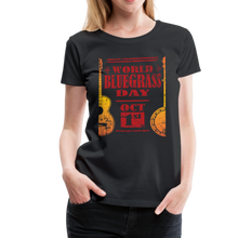 Load image into Gallery viewer, Women's Faded World Bluegrass Day T-Shirt - black