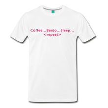Load image into Gallery viewer, Men's Coffee Banjo Sleep Repeat T-Shirt - white