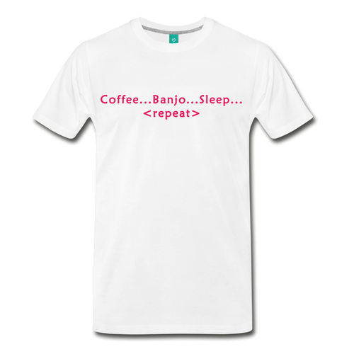 Men's Coffee Banjo Sleep Repeat T-Shirt - white