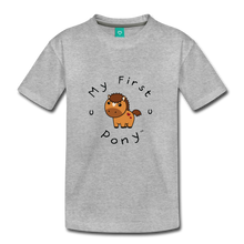 Load image into Gallery viewer, Kids' My First Pony T-Shirt (light brown) - heather gray