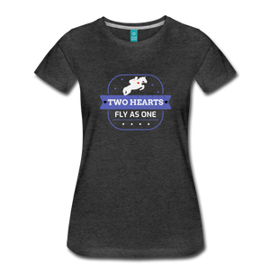 Women's Two Hearts Fly as One T-Shirt - charcoal gray