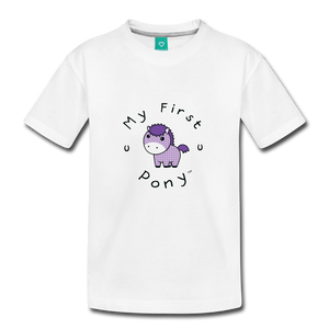 Toddler My First Pony T-Shirt (lilac patch) - white