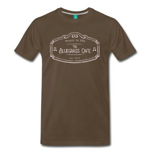 Men's The Bluegrass Cafe (music is life) T-Shirt - noble brown