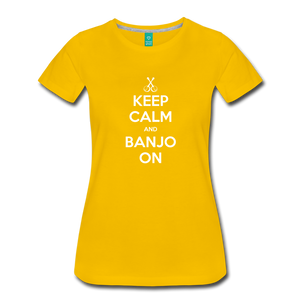 Women's Keep Calm Banjo On T-Shirt - sun yellow