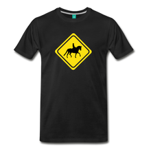 Load image into Gallery viewer, Men's Caution Dressage Horse T-Shirt - black