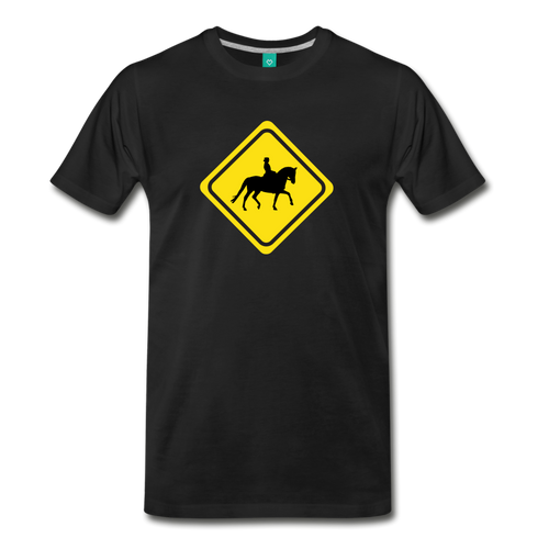 Men's Caution Dressage Horse T-Shirt - black