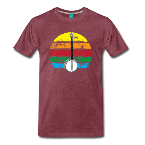 Men's Banjo Rainbow T-Shirt - heather burgundy