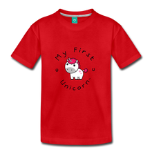 Load image into Gallery viewer, Kids' My First Unicorn T-Shirt (white) - red