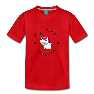 Kids' My First Unicorn T-Shirt (white) - red