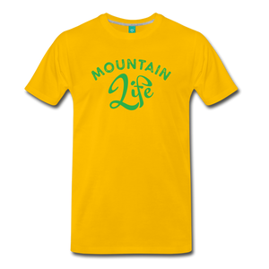 Men's Mountain Life (script) T-Shirt - sun yellow