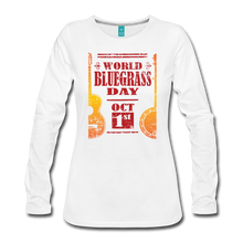 Load image into Gallery viewer, Women's Faded World Bluegrass Day Long Sleeve T-Shirt - white