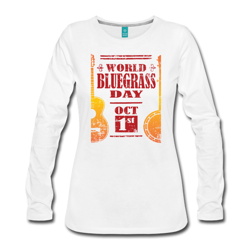 Women's Faded World Bluegrass Day Long Sleeve T-Shirt - white