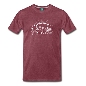 Men's Wanderlust T-Shirt (white) - heather burgundy