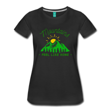 Load image into Gallery viewer, Women's Mountains Feel Like Home T-Shirt - black