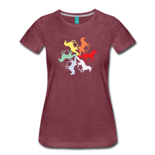 Load image into Gallery viewer, Women's Rainbow Horse Circle T-Shirt - heather burgundy