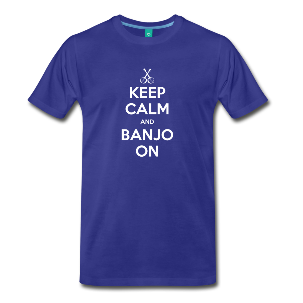 Men's Keep Calm and Banjo On T-Shirt - royal blue
