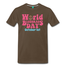 Load image into Gallery viewer, Men's 60s-Retro World Bluegrass Day T-Shirt - noble brown