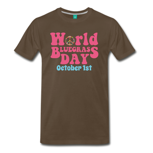 Men's 60s-Retro World Bluegrass Day T-Shirt - noble brown