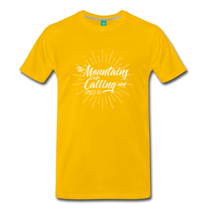 Men's Mountain Calling T-Shirt (white) - sun yellow