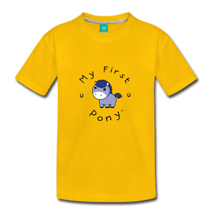 Toddler My First Pony T-Shirt (blue patch) - sun yellow
