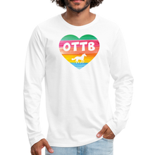 Load image into Gallery viewer, Men's OTTB Rainbow Heart Long Sleeve T-Shirt - white