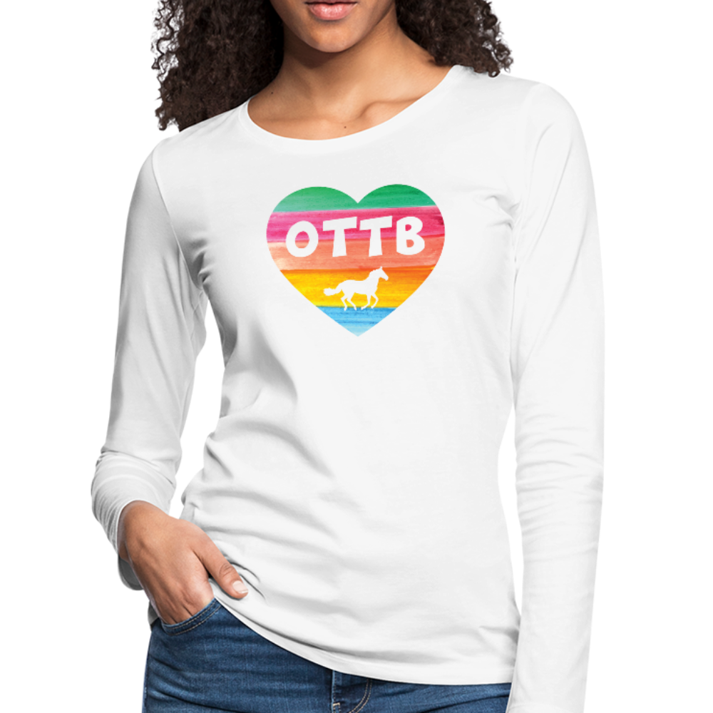 Women's OTTB Rainbow Heart Long Sleeve T-Shirt - white