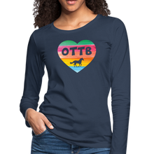 Load image into Gallery viewer, Women's OTTB Rainbow Heart Long Sleeve T-Shirt - navy