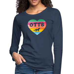 Women's OTTB Rainbow Heart Long Sleeve T-Shirt - navy