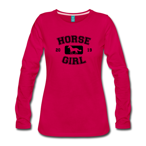 Women's Horse Girl Long Sleeve T-Shirt - dark pink