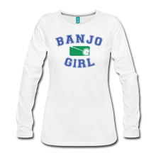 Load image into Gallery viewer, Women's Banjo Girl Long Sleeve T-Shirt - white