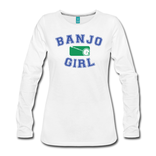 Women's Banjo Girl Long Sleeve T-Shirt - white