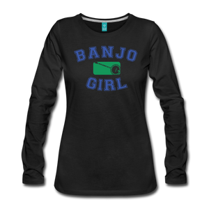 Women's Banjo Girl Long Sleeve T-Shirt - black