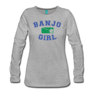 Women's Banjo Girl Long Sleeve T-Shirt - heather gray
