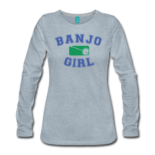 Load image into Gallery viewer, Women's Banjo Girl Long Sleeve T-Shirt - heather ice blue