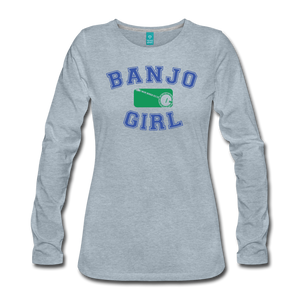 Women's Banjo Girl Long Sleeve T-Shirt - heather ice blue