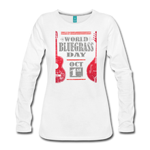 Load image into Gallery viewer, Women's Red World Bluegrass Day Long Sleeve T-Shirt - white