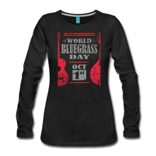 Load image into Gallery viewer, Women's Red World Bluegrass Day Long Sleeve T-Shirt - black
