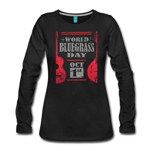 Women's Red World Bluegrass Day Long Sleeve T-Shirt - black