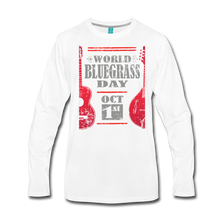 Load image into Gallery viewer, Men's Red World Bluegrass Day Long Sleeve T-Shirt - white
