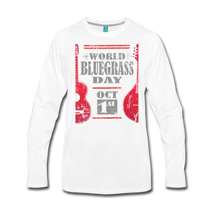 Men's Red World Bluegrass Day Long Sleeve T-Shirt - white